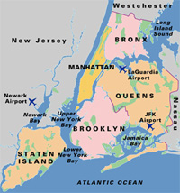 Map of NJ and the 5 Boroughs